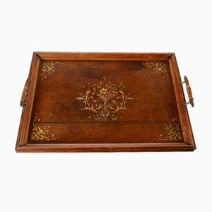 Italienisches Vintage Tablett aus Palisander mit Intarsien
