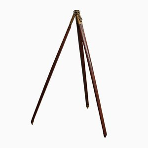 Vintage English Mahogany & Bronze Tripod, 1940s