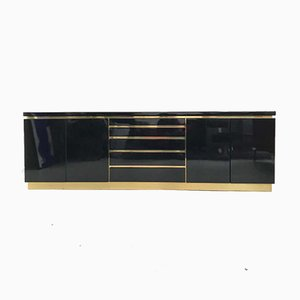 Hollywood Regency Style Black Lacquered Credenza by Jean Claude Mahey, 1970s