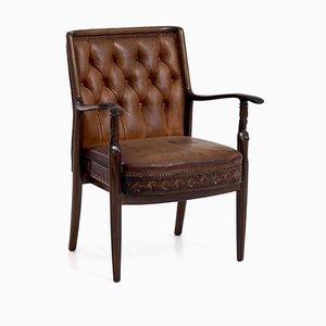 Antiker dänischer Armlehnstuhl aus Mahagoni und Leder