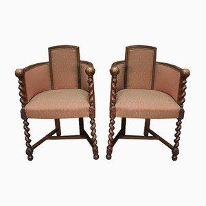 Sessel aus Eiche, 1930er, 2er Set