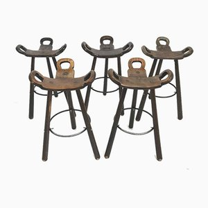 Brutalist Spanish Marbella Bar Stools, 1970s, Set of 5