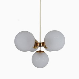 Mid-Century Brass and Glass Chandelier, 1970s
