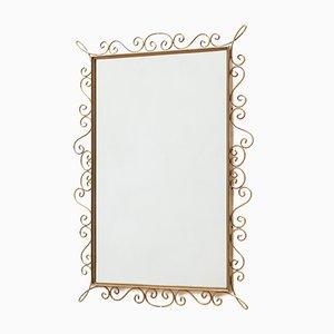 Französischer Spiegel mit Messingrahmen, 1960er