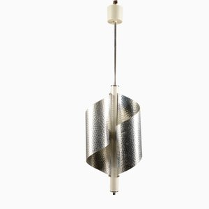 Italian Chromed and Embossed Steel and Ceiling Lamp, 1970s