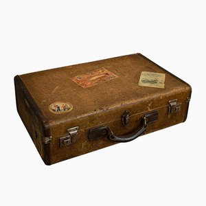 Vintage English Leather Suitcase, 1930s