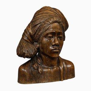Escultura de busto tallada a mano, años 40
