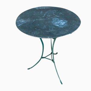 Mesa pedestal de jardín vintage de hierro pintado y zinc