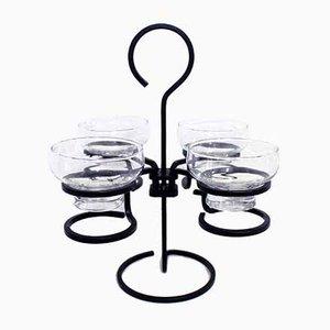 Kerzenhalter aus Metall & Glas von Ystad-Metall, 1960er