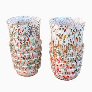 Jarrones vintage de vidrio opalino. Juego de 2
