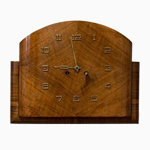 Large Vintage Walnut Wall Clock, 1940s