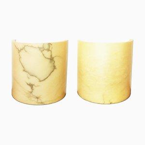 Spanische Minimalistische Alabaster Wandlampen, 1980er, 2er Set