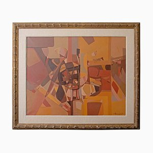 Große abstrakte Vintage Malerei von Carlo Marangio