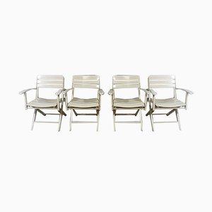 Weiße klappbare Mid-Century Gartenstühle aus Holz, 1960er, 4er Set