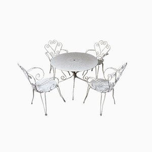 Conjunto de mesa y sillas de jardín Mid-Century de hierro blanco, años 50. Juego de 5