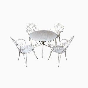 Weißes Mid-Century Gartentisch & Stühle Set aus Eisen, 1950er, 5er Set