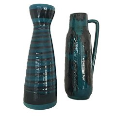 West German Blue Vases, 1970s, Set of 2