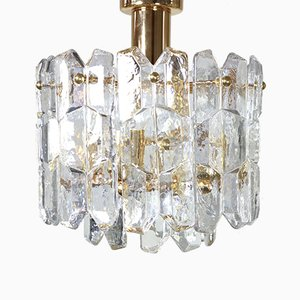 Vintage Gold Plated Crystal and Frosted Glass Model Palazzo Chandelier from Kalmar Franken KG, 1970s