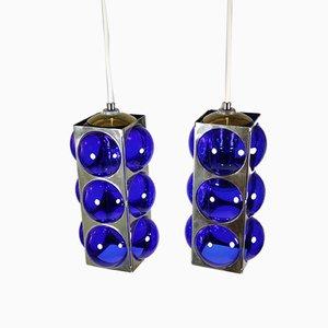 Blaue Murano Glas und Metall Deckenlampen, 1970er, 2er Set