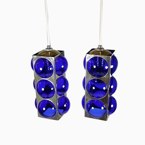 Blue Murano Glass and Metal Ceiling Lamps, 1970s, Set of 2
