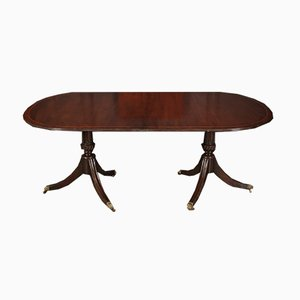 19th Century Mahogany Twin Pillar Dining Table