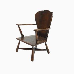 Rustikaler Armlehnstuhl aus Holz, 1920er