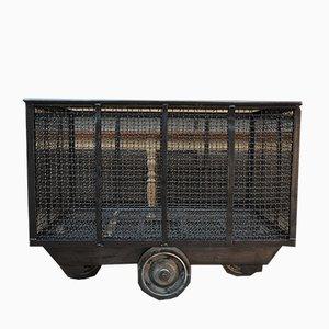 Industrieller Rollwagen aus poliertem Metall, 1950er