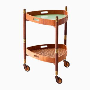 Italian Teak & Wicker Service Trolley, 1950s