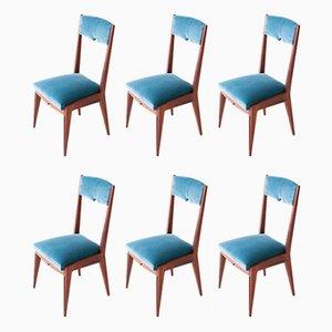 Esszimmerstühle aus Mahagoni & Samt, 1950er, 6er Set