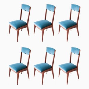 Mahogany & Velvet Dining Chairs, 1950s, Set of 6