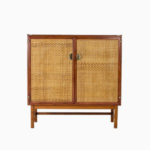 Mahogany and Rattan Cabinet from Westbergs Möbler, 1950s