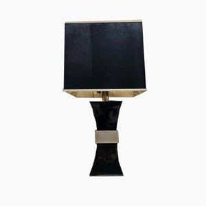 Italian Black Ceramic and Chromed Brass Table Lamp by Gabriella Crespi, 1970s