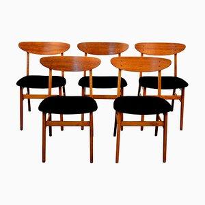 Dänische Mid-Century Buche & Teak Esszimmerstühle von Farstrup Møbler, 5er Set