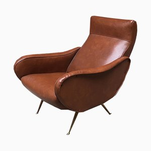 Italian Brown Leather Lounge Chair, 1960s