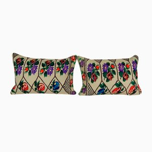 Turkish Kilim Cushion Covers with Floral Design, Set of 2