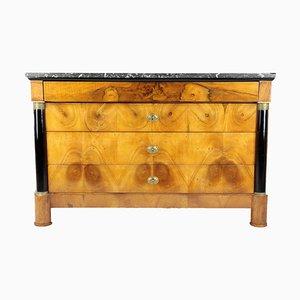 Antique Biedermeier French Walnut Veneer Chest of Drawers, 1820s
