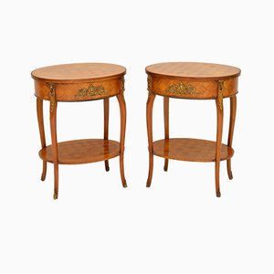 French Parquetry Side Tables, 1950s, Set of 2