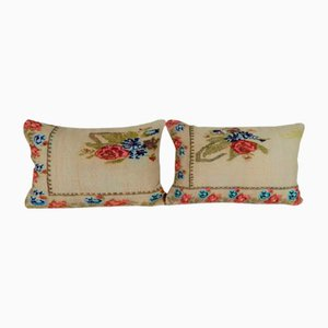 French Aubusson Verdure Tapestry Fragment Cushion Covers, Set of 2