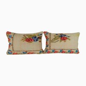 Fundas de cojín Aubusson francesas de retales de tapicería. Juego de 2