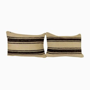 Turkish White Hemp Lumbar Cushion Covers, Set of 2