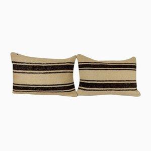 Turkish White Hemp Lumbar Cushion Covers, Set of 2