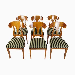 Antique Cherrywood Veneer Dining Chairs, 1860s, Set of 6