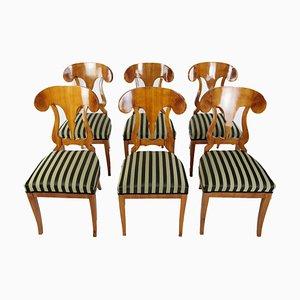 Sillas de comedor antiguas de chapa de madera de cerezo, década de 1860. Juego de 6