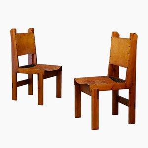 Französische Mid-Century Esszimmerstühle aus Holz & Leder, 1960er, 4er Set