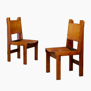 Mid-Century French Wood and Leather Dining Chairs, 1960s, Set of 4