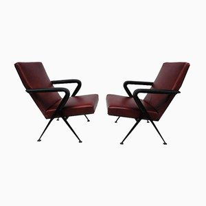 Leather Model Repose Lounge Chairs by Friso Kramer for Ahrend De Cirkel, 1960s, Set of 2