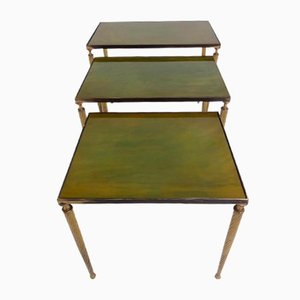 Brass and Glass Nesting Tables, 1950s