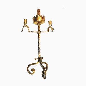 Goldene Tischlampe aus Schmiedeeisen, 1940er