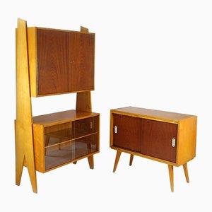 Aparador y librería pequeños, años 60. Juego de 2