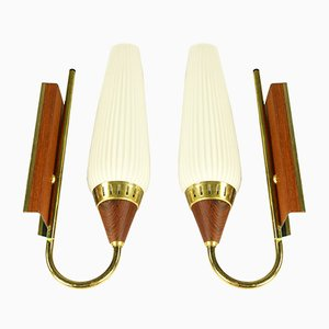 Mid-Century Teak and Glass Sconces, Set of 2